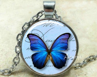 Blue butterfly, butterfly, butterfly pendant, butterfly jewelry, butterfly necklace, iridescent blue butterfly, Pendant #AN194P