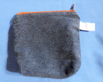 Large Lined Blue Denim Coin / Change Purse, Cigarette Case w/ Zipper Closure, Recreated by Carolyn, made from Upcycled/Recycled Materials