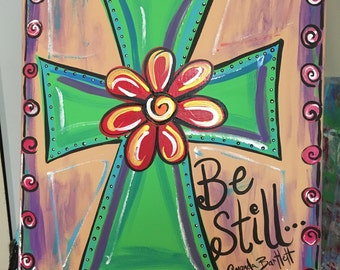 Whimsical Cross Canvas Art Christian Be Still