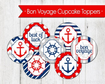 Nautical Bon Voyage Cupcake Toppers - Instant Download