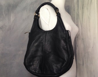 Black fake leather bag- black women shoulder bag- chunky black round bag