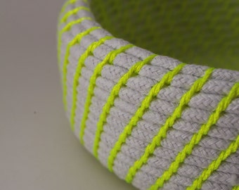 Upcycled Natural & Neon Rope Basket: Yellow / Coiled / Medium