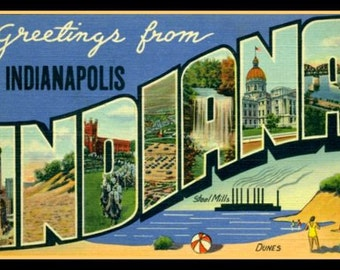 Fridge Magnet, Greetings from Indianapolis Indiana, Big Letter postcard,  vintage image,