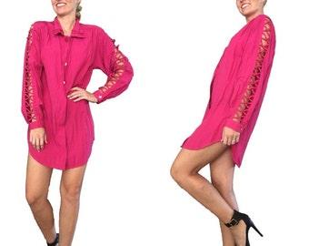 Pink Tunic/ Pink Button Up/ Pink Dress/ Pink Shirt Dress/ Shirt Dress/ Boyfriend Dress/ Boyfriend Shirt/ Boyfriend Fit Top/ Hot Pink Top