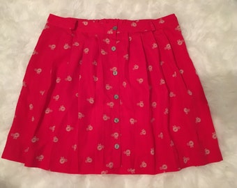 Red Skirt/ Plus Size/ Bike Print Skirt/ Red and Cream Skirt with Button Front and Bike Pattern/ XXL/ Red Skirt