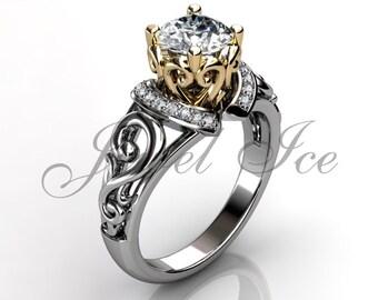 Engagement Ring - 14k White and Yellow Gold Diamond Art Deco Filigree Scroll Engagement Ring Wedding Ring Anniversary Ring ER-1124-4