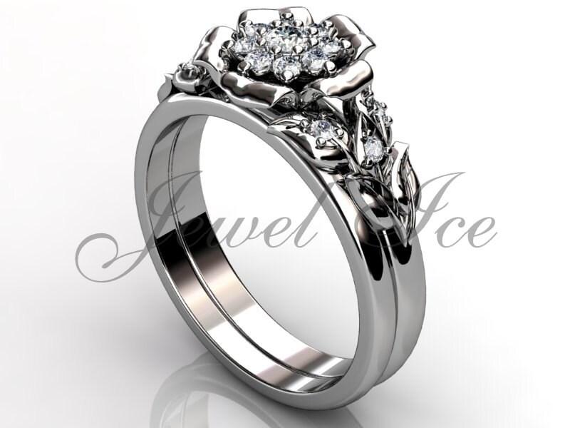 platinum unique flower engagement ring bridal
