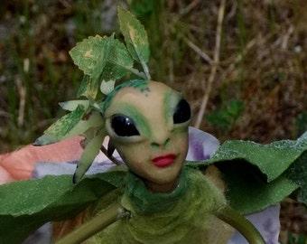 "FLOWER SPRITE Fairy ""Lysinnia"" - Hand Sculpted - Figurine - OOAK - Beautiful!!"