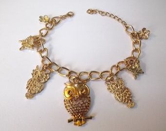 Retro Owl, Butterfly and Flower Charm Bracelet, Bring Back the Bling of the 80s Gold-toned Vintage Link Bracelet