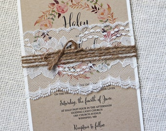 Rustic Wedding Invitation, Lace Wedding Invitation, Vintage Wedding  Invitation, Vintage, Shabby Chic