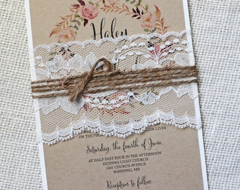 Rustic Wedding Invitation, Lace Wedding Invitation, Vintage Wedding Invitation, Vintage, Shabby Chic Wedding Invitation, Kraft