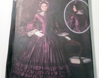"Civil War Gown Dress 1830s historic martha mccain sewing pattern Simplicity 4510 halloween Costume Size 8 10 12 14 Bust 31.5 32.5 34 36"" FF"