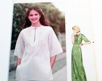 """SALE 1970s Boho Peasant Maxi Dress or Top sewing pattern Butterick 5310 Size 8 10 OR 12 14 Bust 31.5 32.5"""" OR 34 36"""""""