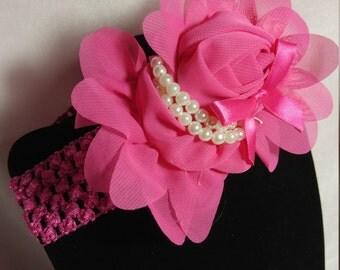 Hot Pink Flower Crochet Headband
