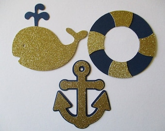 6 Nautical (3 size options) Theme Decorations, Diecut Cutouts, for Diaper Cake, Centerpiece, Birthday Party, Baby Shower, Navy  and Gold