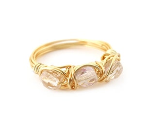 Gold Swarovski Crystal Ring - Gold Wire Wrapped Ring - Ring Size 5.5 - Crystal Ring - Sparkle Ring - Gift for Her
