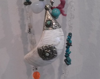 Necklace BOHOCHIC Turquoise stone with Horn with Sterling Silver and turquoise details inside