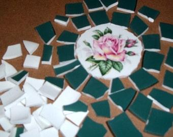 Broken China,  Rose china, Rose Focal, Mosaic pieces, Mosaic Supplies, Pink rose, Hand cut china