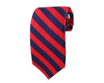 Striped Tie Red and Navy . Slim Men's Neckties. Luxury Neckwear. Wedding Groomsmen Ties. Made In USA
