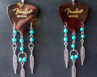 Dreamcatcher Guitar Pick Earrings