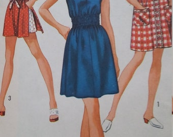 Vintage Simplicity 8832 Sewing Pattern Size 10 Jiffy Dress or Top and Shorts 1970s Fashions