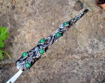 metal hairclip  with jade