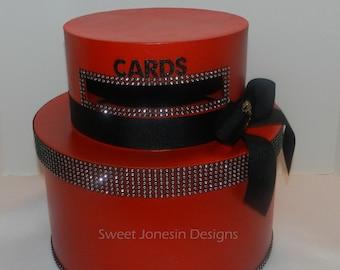 Red & Black Wedding Card Box Diamond Bling Mesh Ribbon