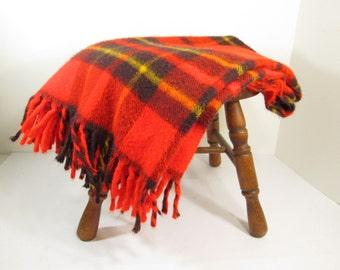 Vintage Faribo Blanket Throw Plaid Red Black Gold