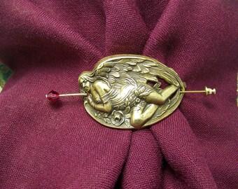 Angel Pin, Shawl Pin, Scarf Pin, Sweater Pin, Angel Shawl Pin, Stick Pin, Hat Pin, Art Nouveau Angel, Victorian Angel, Angel, Guardian Angel