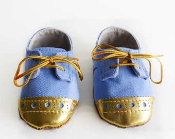 Baby Shoes Boy or Girl Sky Blue Canvas with Brogued Gold Leather Soft Sole Shoes