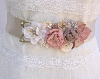 SALE 25% Off, Champagne Floral Bridal Sash, Wedding Sash With Swarovski Crystals & Pearls,  Wedding Belt