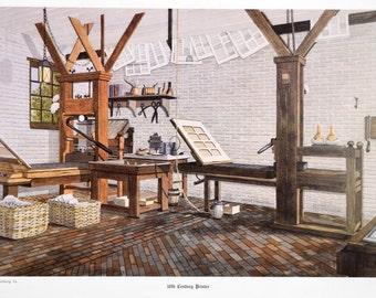 "Vintage 1980s Graphic Arts Show Poster 18th Century Printer 26"" x 15.75"""