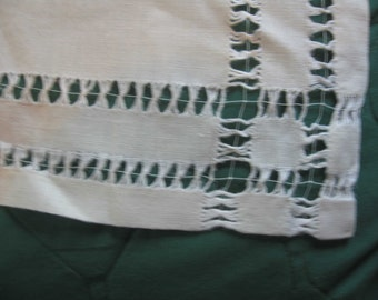 Double Row of DRAWN Work on White Linen VINTAGE TABLECLOTH
