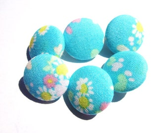 Turquoise Liberty Print Cotton Covered Button - 2cm wide - Liberty Cotton - Fabric Covered Buttons - Blue Floral Buttons