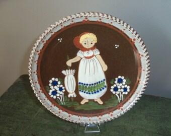 Vintage Handmade Pottery Folk Art Wall Hanging Plate European