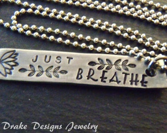 just breathe necklace inspirational her gift for girlfriend