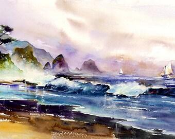 Ocean Breeze - Watercolor Painting Print by Michael David Sorensen. Coastal Art. Seascape. Blue. Purple. Sailboat. Beach. Sand.