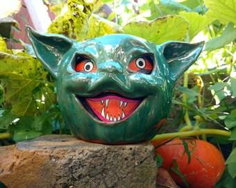Vintage style Halloween green imp kitten lantern