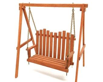 Vintage Dollhouse Swing, Yard Swing, Adirondack,Porch Swing, Garden, Teak Wood, 1:12 Scale