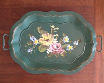 Large tole toleware metal tray footed handled hand painted floral on green Fine Arts Studio shabby romantic cottage chic home decor serving