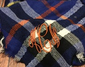 Monogram blanket scarf, plaid blanket scarf 2 in 1, monogrammed tartan scarf, embroidered monogram blanket scarf