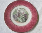 "10-7/8"" Salem China 1940s Imperial GODEY PRINTS Pink Service Plate #17"