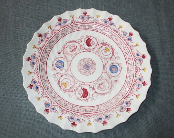 "Spode FLORENCE 10.5"" Dinner Plate, Rose with Blue & Yellow Accents, c. 1931"