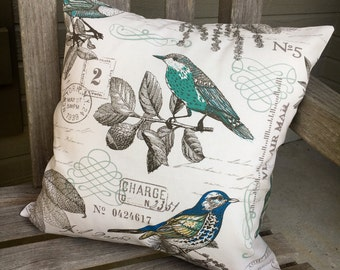 Pillow Cover/Vintage Style Postage Bird Print Pillow Cover
