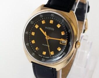 Rare mens dress watch VOSTOK. Mechanical gold plated men's wrist watch 70s. Gift for him