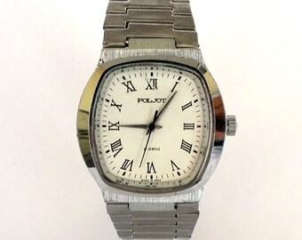 Soviet Watch POLJOT, Russian Men's Wrist Watch With Original Bracelet, Vintage Mechanical Gents Watch, White Dial Dress Watch Gift For Him