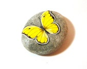 Yellow  white  butterfly - hand painted rock, paperweight, garden decor, wedding