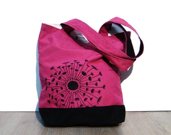 Purple fuchsia black tote bag handmade hand painted dandelion