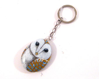 Barn owl, white yellow, Hand painted rock keychains