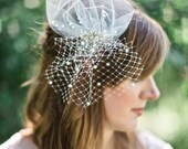 Mini birdcage veil with pearls and crystals, Sweet Whimsy  small bridal veil, mini wedding veil, white,  ivory, champagne  Style 637